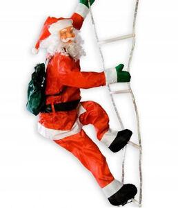 Weihnachtsmann Leiter 190cm LED beleuchtet Nikolaus Weihnachten Deko Santa Claus