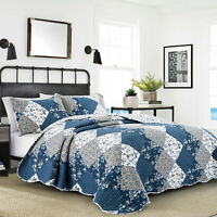 Luxury Quilted Patchwork Bedspread Bedding Set Double King Size With Pillow Case