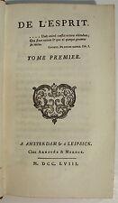 [HELVETIUS (Cl.-A.)]. De l'Esprit - Amsterdam 1758 - 3 volumes