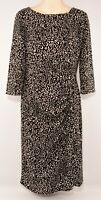 FARHI by NICOLE FARHI Women's Patterned Midi Dress, Black/Natural, size UK 10