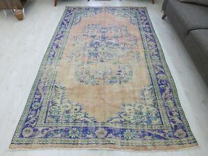 Large Oversize Vintage Handmade Turkish Wool Floral Area Rug Old Blue Rug 6x9ft