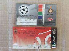 INTER FC CALCIO 2 BIGLIETTI VS. MONACO 30/7/2009 E MALMOE COPPA U.E.F.A 88/89