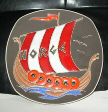 scandinavian norwegian pottery enamel norge viking ship wall plaque norway