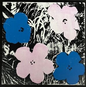 ANDY WARHOL -- A 1964 ORIGINAL SILKSCREEN ON CANVAS SIGNED - FLOWERS