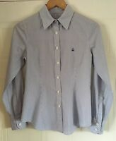 Ladies BENETTON Long Sleeve White and Blue Stripe Cotton Shirt Size 36 Chest