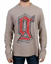 NEW $300 GALLIANO Sweater Gray Motive Print Long Sleeve Crew-neck T-shirt s. L