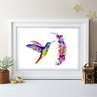 HUMMING BIRD PAINTING ORIGINAL WATERCOLOUR PRINT NEW SIGNED POP ART,BIRDS FLORAL