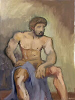 "Nude Male Man Art Figure Original Oil Painting, 18""x24"" Signed Gay Interest"