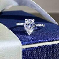 Solitaire 2.14Ct Pear Shaped Diamond Engagement Wedding Ring Solid14K White Gold