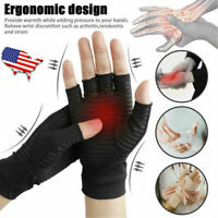 1 Pair Copper Fiber Therapy Compression Gloves Hand Arthritis Joint Pain Relief