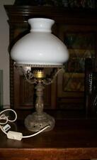 Antica splendida massiccia lampada Liberty inizio '900 opalina bronzo dorato