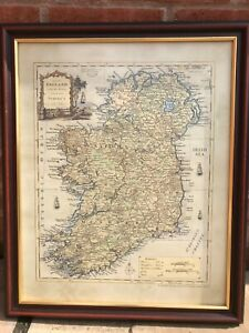 """Framed map of Ireland Counties c.1779 (22"""" x 18"""" in frame)"""