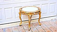 ANTIQUE 1920c ITALIAN GILT IRON(BRONZE)ORNATE 4 LEGS ROUND ONYX TOP STAND,TABLE