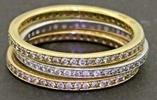 18K tricolor gold 1.41CT VS1/G diamond 3-piece eternity band ring set size 8