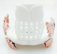 BATH & BODY WORK WHITE OWL ON LEAFY STUMP CANDLE HOLDER FOR 3 WICK CANDLES NEW!