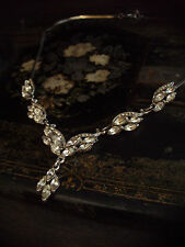 Vintage Clear Navette Crystal Drop Silver Necklace