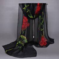 Hot New Fashion Women's Lady Chiffon Floral Flowers Scarf Soft Wrap Long Shawl