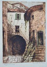 Roquebrune Cap Martin. Antique Watercolor MonoPrint Painting Paper Art 1900-1949