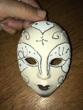 Miniature Ceramic Hand Painted Harlequin Mask Wall Hang Decor