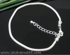Bracelet maille serpent métal argenté diam 3mm 22cm bijoux perles charm création