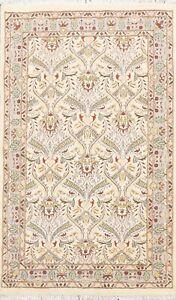 Vegetable Dye Tebriz Floral Oriental Area Rug Wool/ Silk Hand-knotted IVORY 3x5