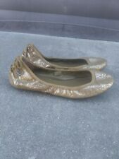 Cole Haan By Maria Sharapova Olive-gold Abstract Print Leather Suede Flats 6.5