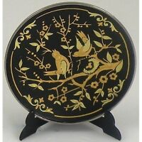 Damascene Gold Bird Design Round Decorative Mini Plate by Midas of Toledo Spain