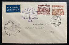 1937 Warsaw Poland First Flight Airmail Cover FFC To Jerusalem Palestine