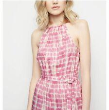 6271d78bd55a59 Ex New Look Pink Tie Dye Halterneck Maxi Dress UK SIZE 14