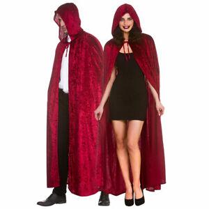 Deluxe Red Velvet Hooded Cape Halloween Mens Ladies Fancy Dress