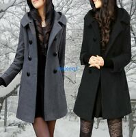 Womens Hooded Wool Peacoat Double Breasted Slim Fit Jacket Overcoat Coat Trench