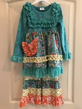 Boutique Multi Pattern Ruffles Floral Shirt and Pants outfit Girls 3T 4T 5T