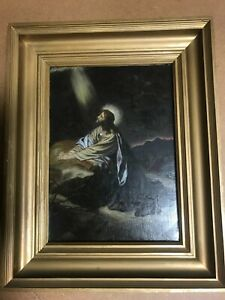 Oil On Board Jesus In The Wilderness Antique Oil Painting in Gilt Frame AW 1915