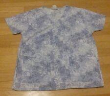 Women medium M patterned scrub top lavender white poly/cotton Life Uniform