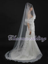 White Chapel Length Wedding Veil Lace Edge Long Train Bridal Hair Accessories