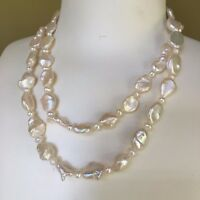 46/85CM Amazing Luster freshwater 11-15mm Pearl Natural white Baroque necklace