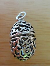 Sterling Silver 3D 23x15mm Movable Opens Cut out Easter Egg Charm