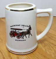 MICHIGAN Mackinac Island Horse Souvenir Ceramic Mug Stein Gold Trim USA L-16 VTG