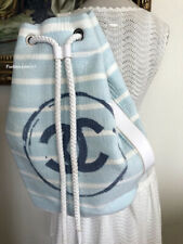 NEW FABULOUS CHANEL BLUE WHITE CC LOGO XL LARGE BACKPACK BAG