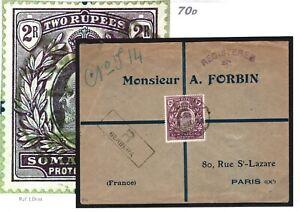 BRITISH SOMALILAND KEVII Cover 2R High Value Berbera Registered 1911 Paris 70d