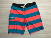 Quicksilver Men's Board shorts Size 34 Red & Blue with Pocket