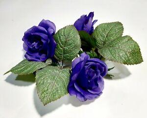 "Purple Rose 8"" Candle Ring 4"" Opening Pillar Silk Flower Home Decor US BP2147"