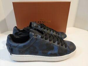 Men's COACH C101 Leather Sneakers - Blue Camo Size 12 US Thick Sole Dad Shoes