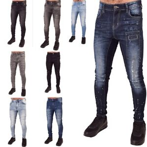 Mens Super Stretch Skinny Jeans Denim Designer Distressed Paint Spray Ons Tight