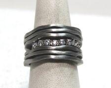 Vecenza Silver Sterling Satin Finish Multi-row Diamonique Ring  Size 6 Rhodium