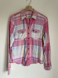 💜Abercrombie & Fitch Womens Pink Check Shirt Size M 100% cotton