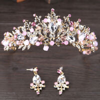 Pink Gold Pearl Bridal Crowns Handmade Tiara Bride Headband Crystal Wedding C3E4