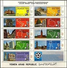 Yemen 1970 Football Soccer sheet of 9 MNH** Mi.:Bl.1088/96 12,00Eur
