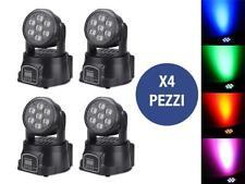 4 X PROIETTORE LED RGB TESTA MOBILE 7 LED ROTANTE EFFETTI DISCO WASH DMX!!!