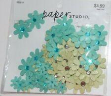 PAPER STUDIO: TURQUOISE & GREEN GLITTER  RHINESTONE &  PAPER FLOWERS 90  PIECES